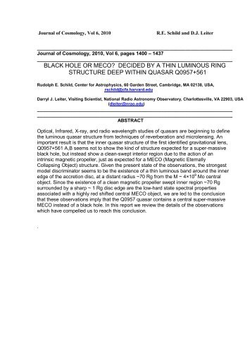 black hole or meco? - Journal of Cosmology