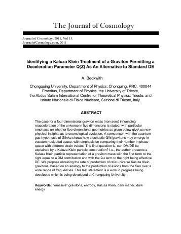 Identifying a Kaluza Klein Treatment of a Graviton - Journal of ...