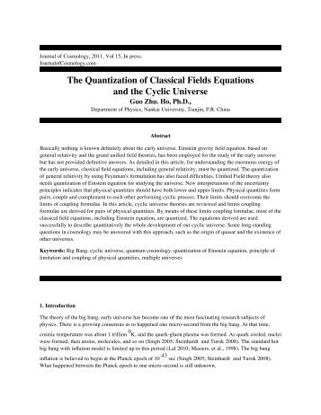 The Quantization of Classical Fields Equations and the Cyclic ...