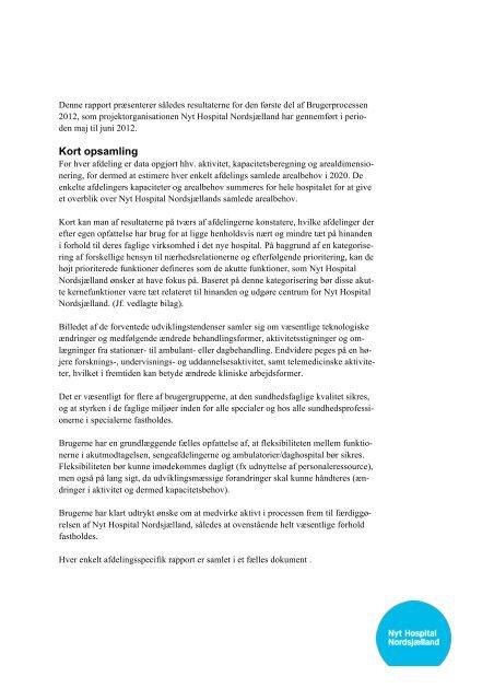 Rapport Brugerproces 2012 - Region Hovedstaden