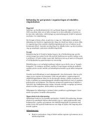 Idékatalog for god praksis i organiseringen af rehabilite ...