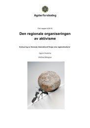 Den regionale organiseringen av aktivisme - Agderforskning AS