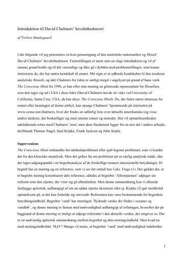 Introduktion til David Chalmers' bevidsthedsteori - Torben Munksgaard