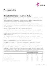 Pressemelding Resultat for første kvartal 2012 - Statoil