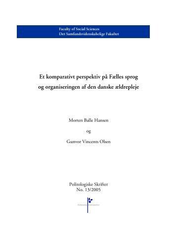 Et komparativt perspektiv på Fælles sprog og organiseringen af den ...