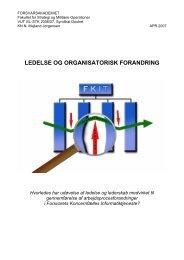 Emne: Ledelse og forandring - Forsvarskommandoen
