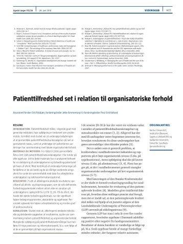 Patienttilfredshed set i relation til organisatoriske forhold
