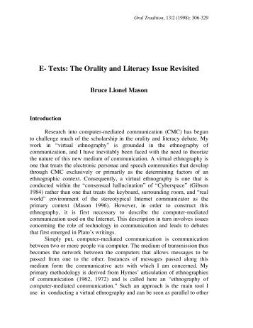 Texts: The Orality and Literacy Issue Revisited - Oral Tradition Journal
