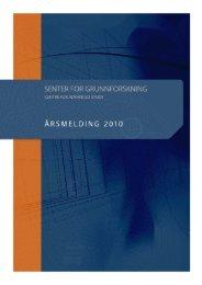 Årsmelding 2010 - Centre for Advanced Study - Universitetet i Oslo