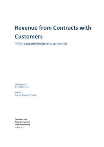 Revenue from Contracts with Customers - Aalborg Universitet