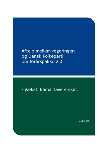 Aftale mellem regeringen og Dansk Folkeparti ... - Finansministeriet