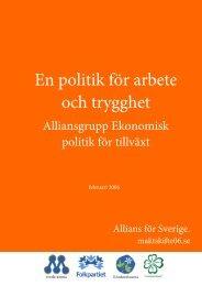En politik för arbete och trygghet - Alliansen