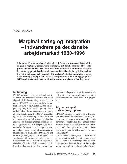 Marginalisering og integration – indvandrere på ... - Nyt om Arbejdsliv