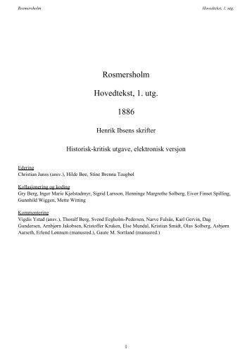 Rosmersholm Hovedtekst, 1. utg. 1886 - Henrik Ibsens skrifter