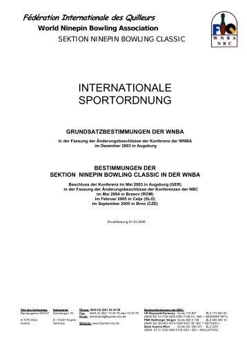 INTERNATIONALE SPORTORDNUNG - Alt.dkbc.de