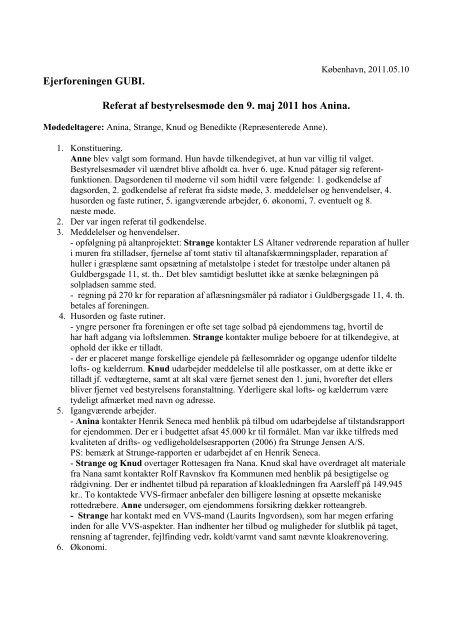 Ejerforeningen GUBI. Referat af bestyrelsesmøde den 9. maj 2011 ...