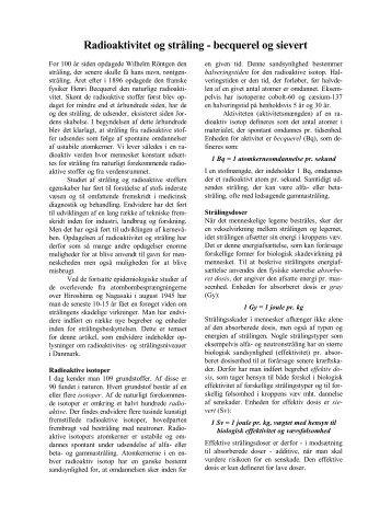 Radioaktivitet og stråling - becquerel og sievert