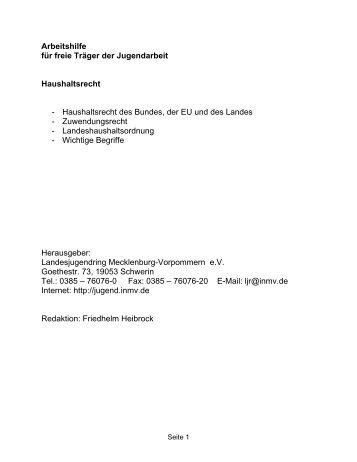 Haushaltsrecht - Landesjugendring MV - Schwerin