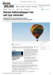 Dansk ballonskipper har sat nye rekorder - Ballonpiloterne Niels ...
