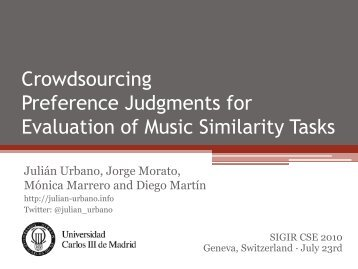 [Slides] Crowdsourcing Preference Judgments for ... - Julián Urbano
