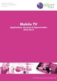 Table of Contents - Mobile TV - Juniper Research