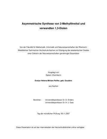 Asymmetrische Synthese von 2-Methylthreitol und verwandten 1 3 ...
