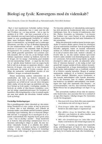 Biologi og fysik: Konvergens mod én videnskab? - Niels Bohr Institutet