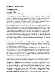 Das MINGUET QUARTETT mit Ulrich Isfort, Violine Annette ...
