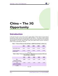 China ~ The 3G Opportunity - Juniper Research