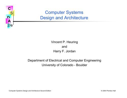 Computer Systems Design And Architecture Plymouth State