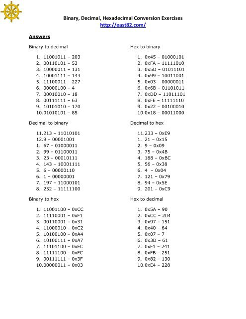 Answers Binary