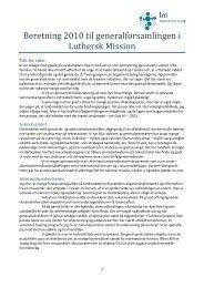 Læs formandsberetningen i sin helhed. - Luthersk Mission
