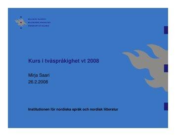 Marketta Sundman: Barnet, skolan och tvåspråkigheten - Helsinki.fi
