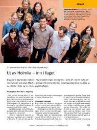 Ut av Holmlia – inn i faget - Tidsskrift for Norsk Psykologforening