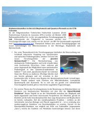 Diplomandenstellen im Bereich Biophotonik und ... - K-LAB - EPFL