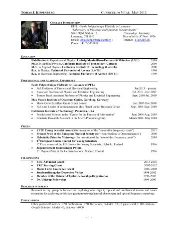 Curriculum vitae - K-LAB - EPFL
