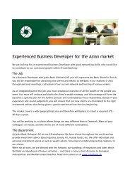 Experienced Business Developer for the Asian market - Jyske Bank
