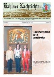 Kahlaer Nachrichten - Ausgabe Nr. 12 - 6. Juni 2013