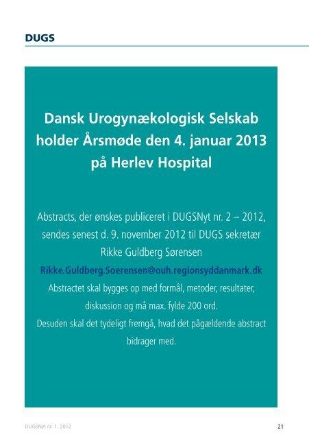 DUGSNyt nr. 1. 2012 - Dansk Urogynækologisk Selskab