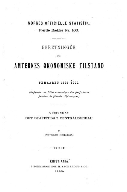 beretninger om amternes økonomiske tilstand i femaaret 1896-1900 ...
