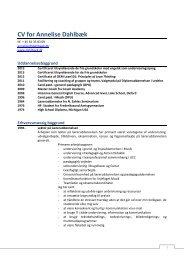 CV for Annelise Dahlbæk - Hjem