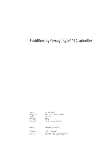 Stabilitet og forsegling af PEC solceller - Energinet.dk