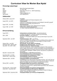Curriculum Vitae for Morten Bue Nydal - magle nydal
