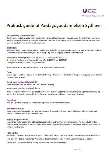 Praktiske informationer - Pædagoguddannelsen Sydhavn