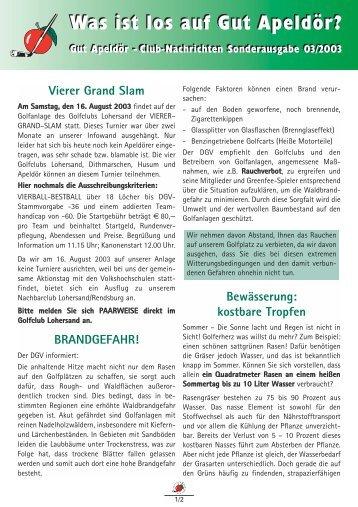 Club-Nachrichten Sonderausgabe 03/2003 Was ist los auf Gut ...