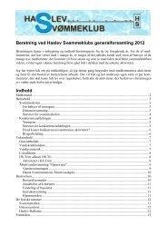 Beretning ved Haslev Svømmeklubs generalforsamling 2012 Indhold
