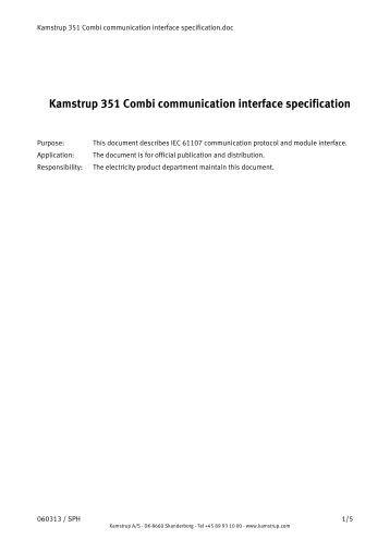 Kamstrup 351 Combi communication interface specification