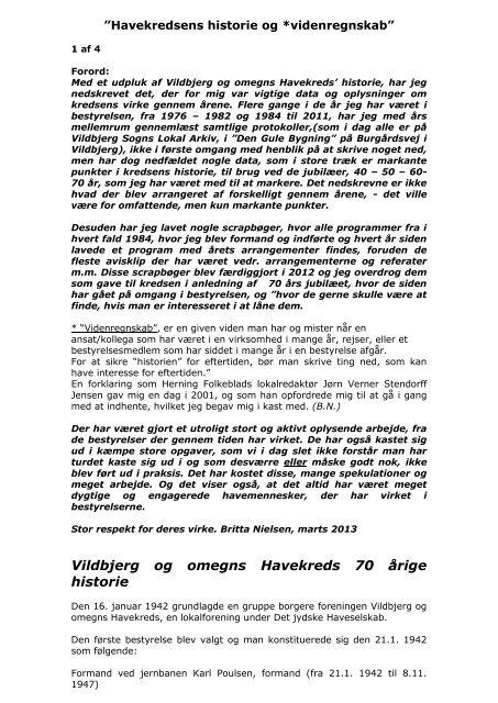 Vildbjerg Havekreds historie 1/4 - Vildbjerg og omegns Havekreds