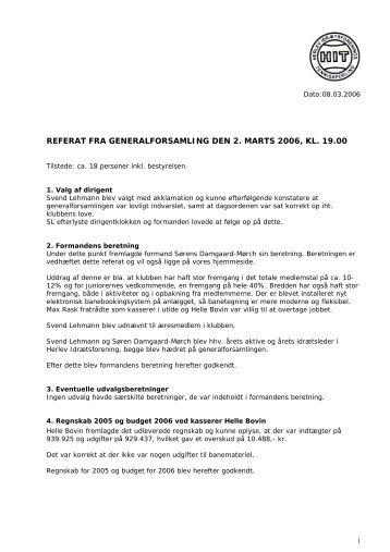 referat fra generalforsamling den 2. marts 2006, kl. 19.00