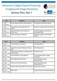Imaging and Image Processing Seminar Plan, Part 1